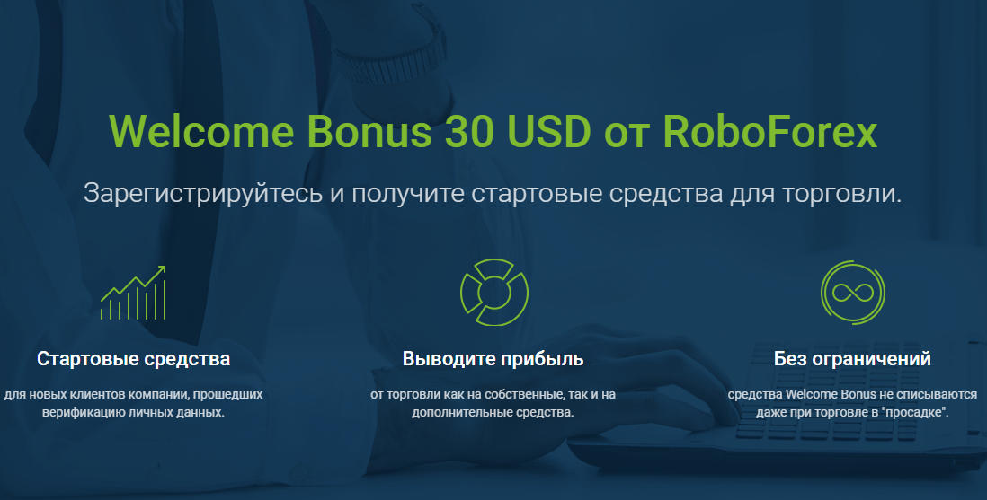 Welcome Bonus 30 USD от RoboForex